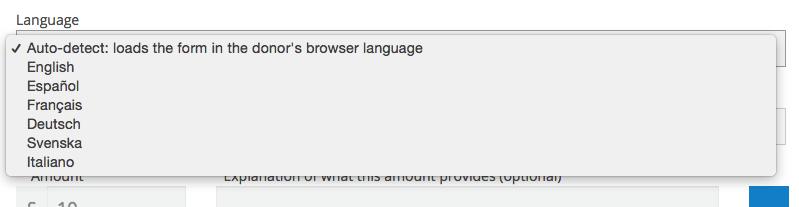 form language selection