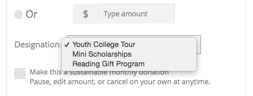donation designation