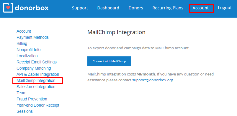Donorbox MailChimp Integration