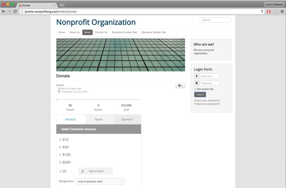 donation form joomla