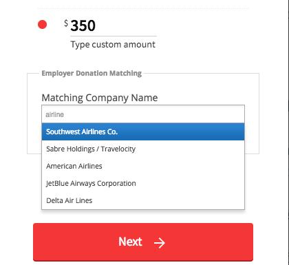 employer donation matching