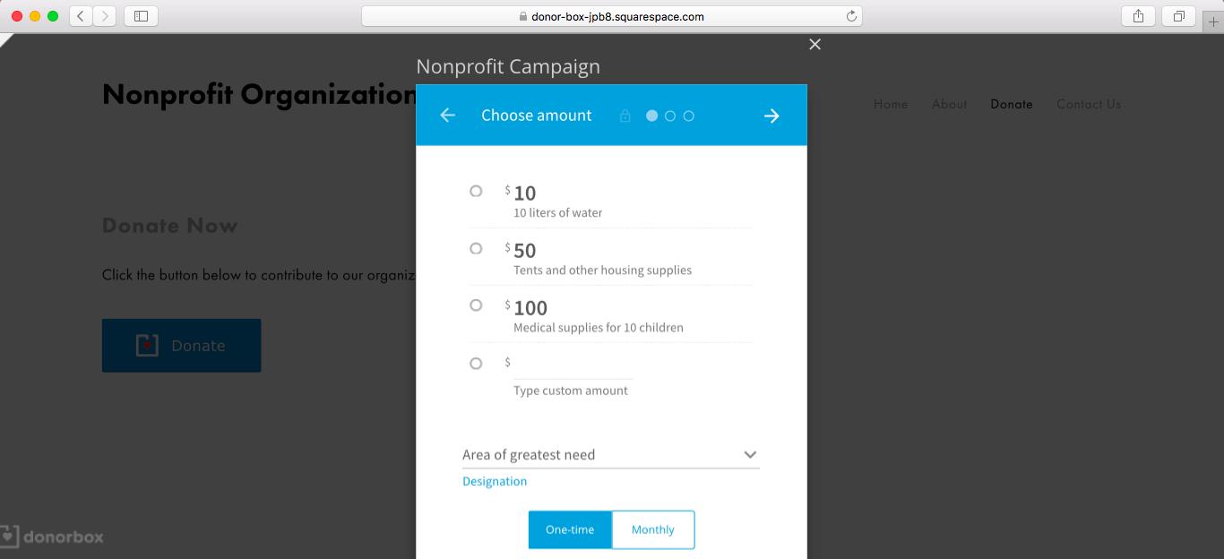 squarespace donation forms
