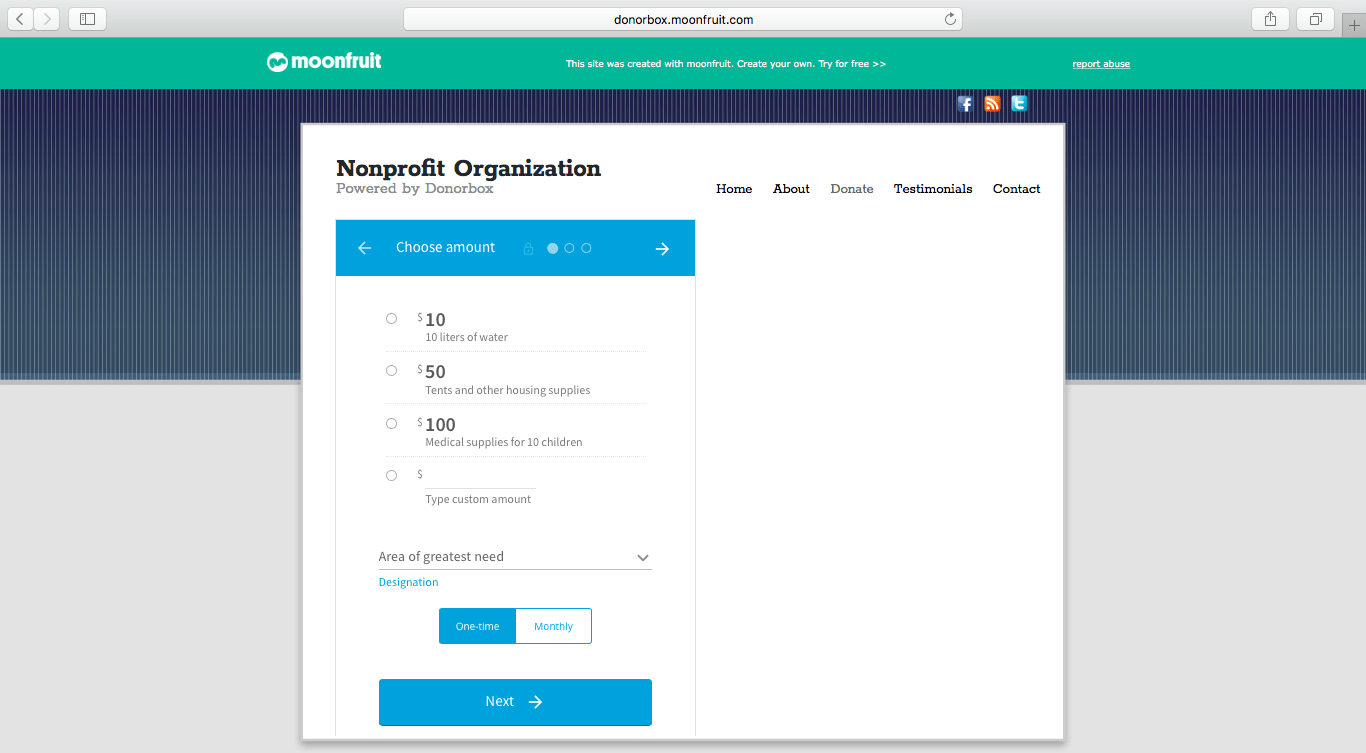 donation form on Moonfruit