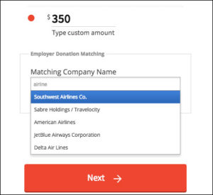 This example shows how donors can search for their company's matching gift program directly on the donation form.