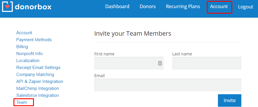 Invite your Team Members to your Donorbox Organization Account
