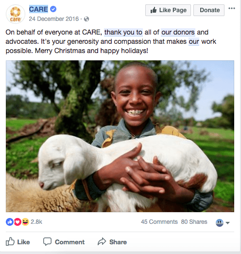Care - Nonprofit social media strategy