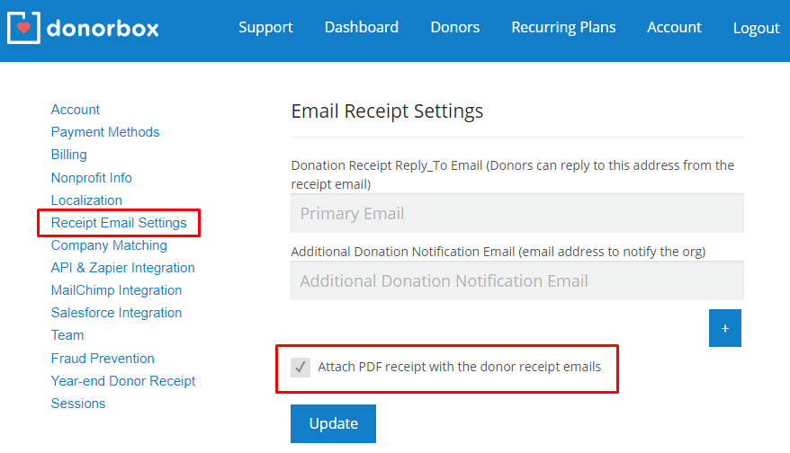 Add a PDF Receipt to Donor Emails