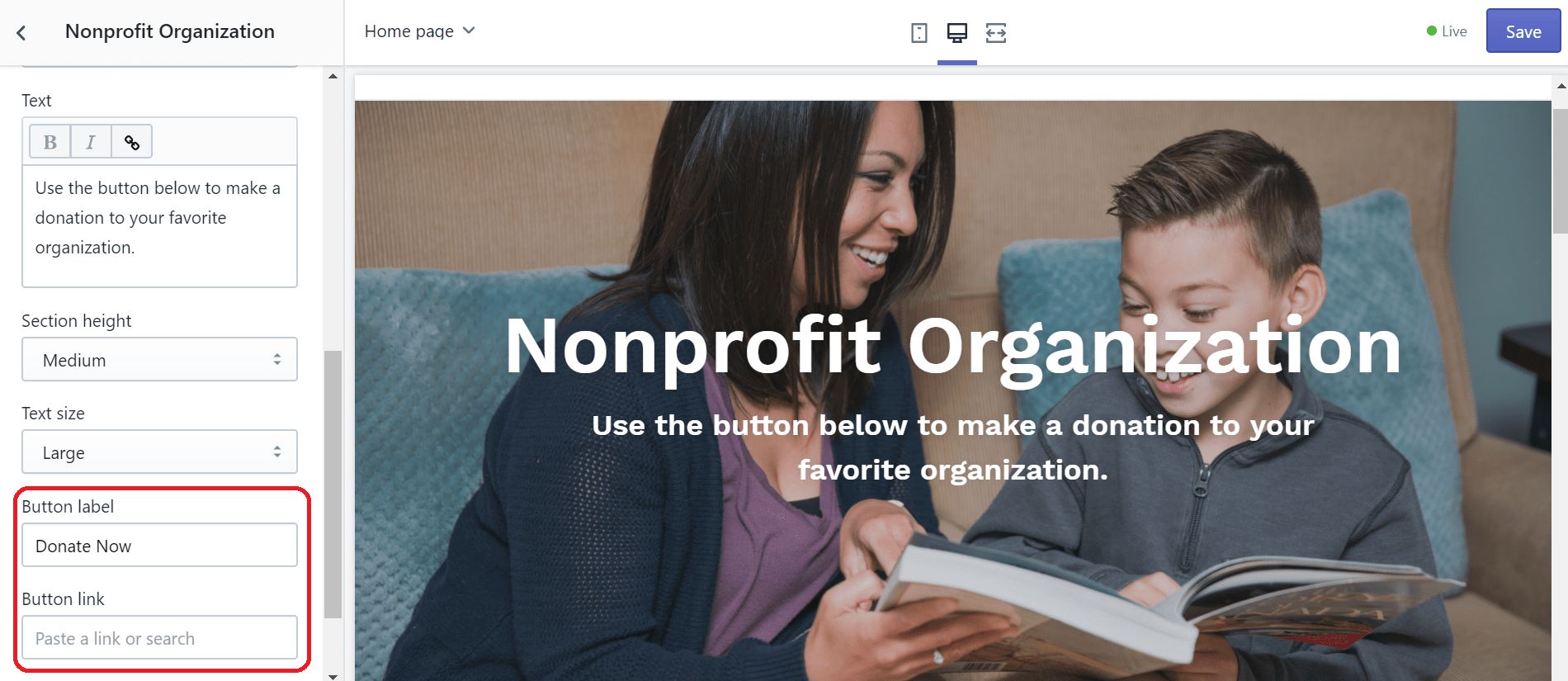 shopify donations