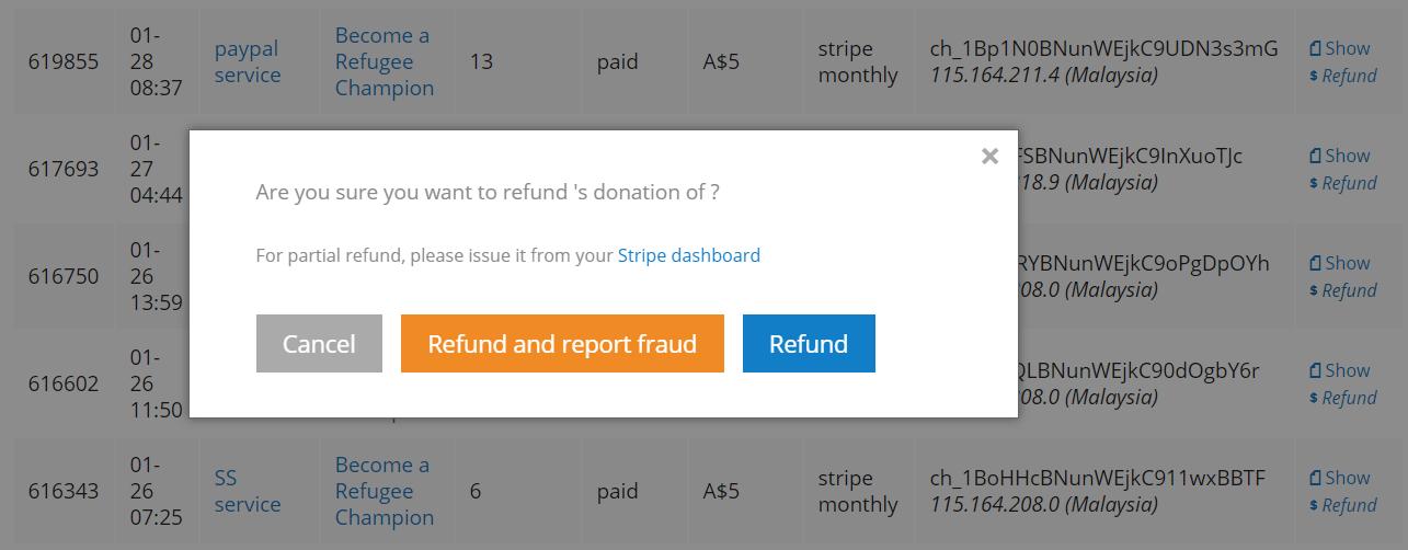 block fraudulent test donations