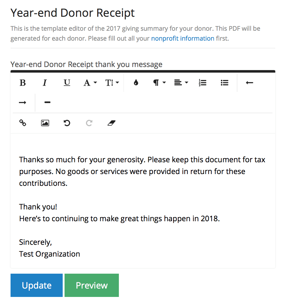 send tax receipts to donors