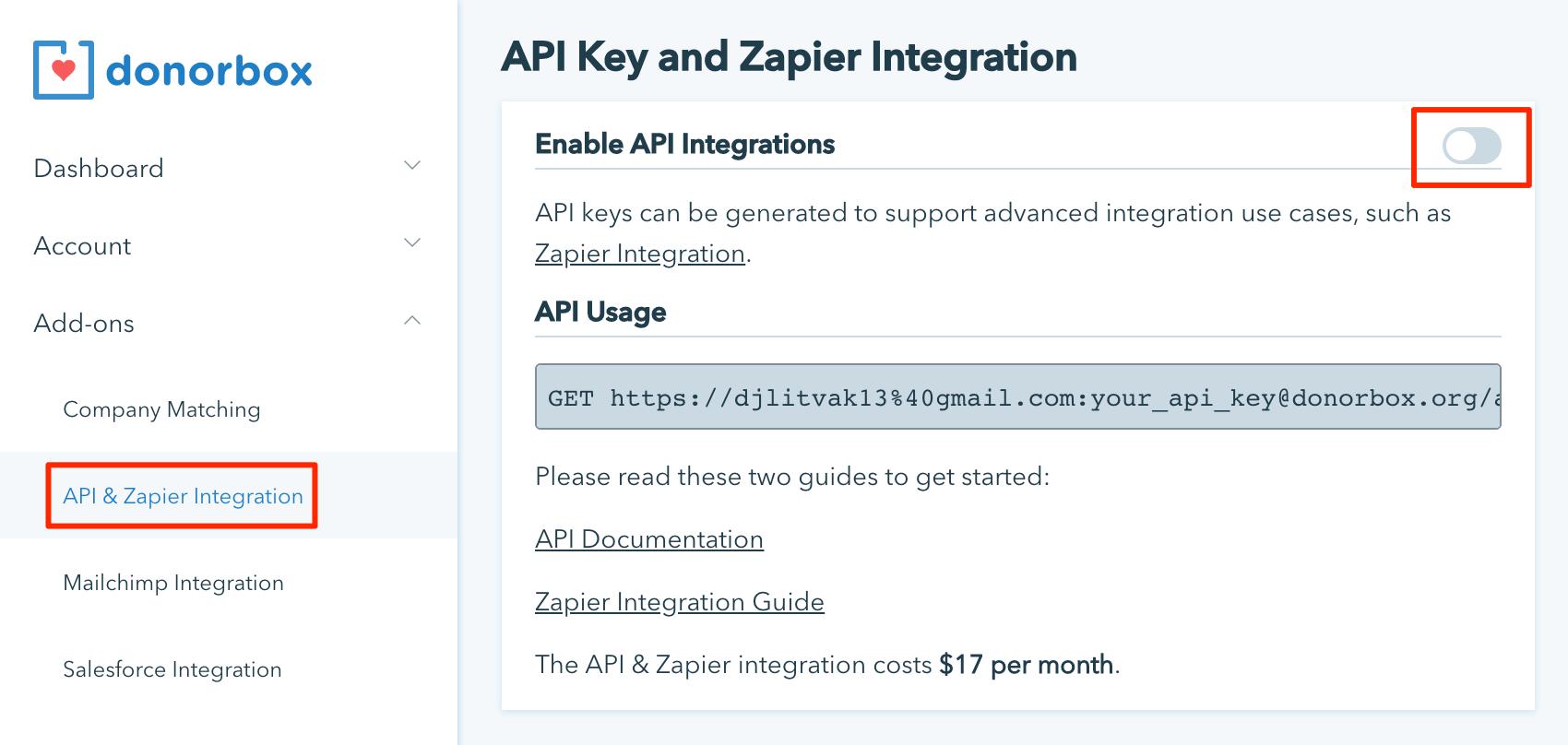 Enabling Zapier/API integration in account