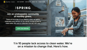 charity-water fundraising site