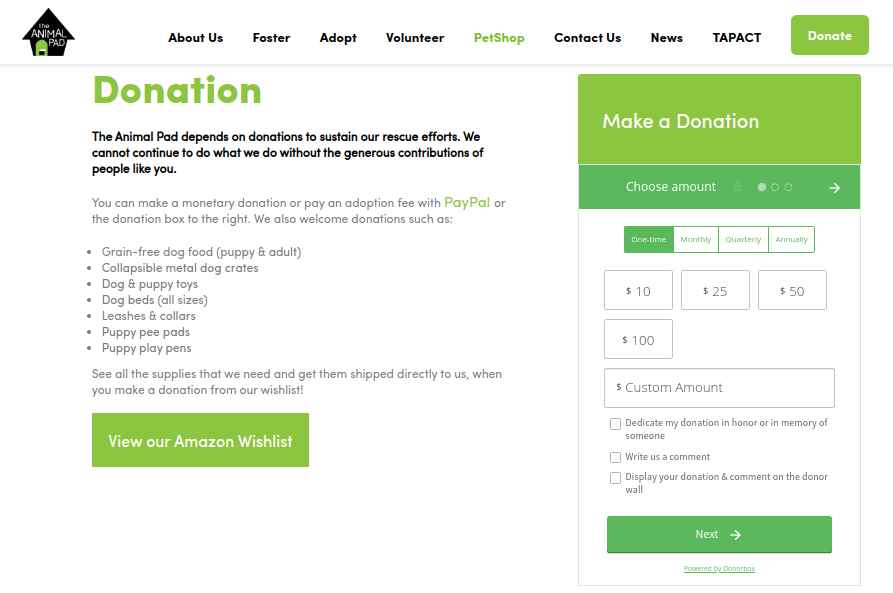 weebly donation form