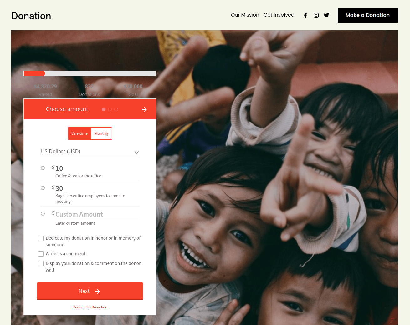 squarespace donations