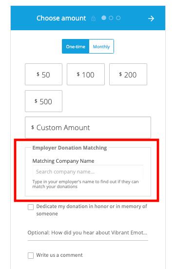 church company matching donation