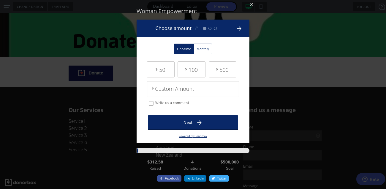 popup donation form