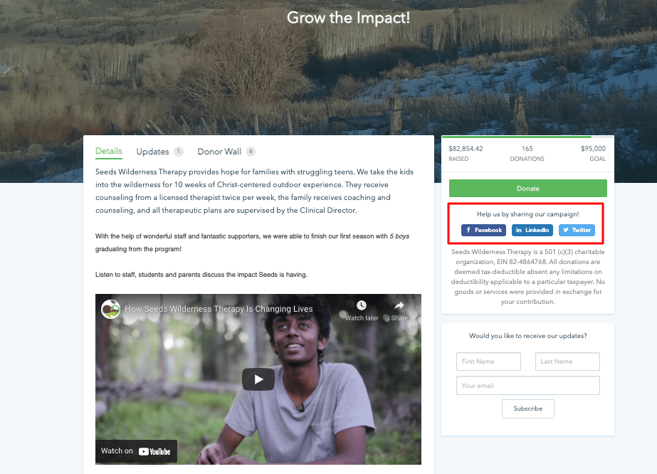 nonprofit's social media